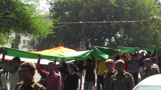 ABVP holds 'tiranga march' in DU
