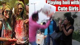 Playing holi with Cute Girls Holi Prank in India 2017 Unglibaaz
