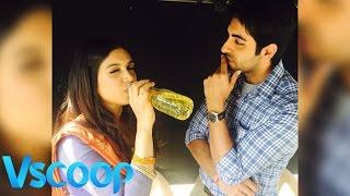 Ayushmann Khurrana & Bhumi Pednekar Drinking Something Suspicious #Vscoop