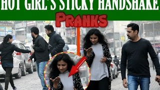 Hot Girl Sticky handshake prank Ft  Madness Pranks 2017_Pranks in India 2017