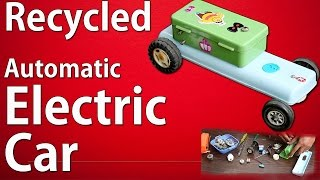How to make a  Recycled Automatic battery powered toy car - Automatic  Electric Car Making