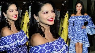 Sunny Leone Looks H0t in Off Shoulder Blue Dress