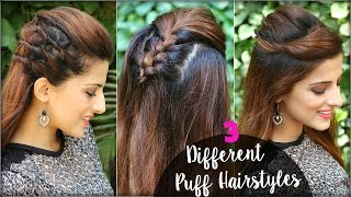 2 Min Different Hairstyles With Puff for College, Work/ Everyday Quick & Easy Hair Pouf Tutorial