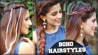 3 EASY Boho Hairstyles For Medium Hair With Clip In Coloured Hair Extensions/ Quick Hair Tutorial