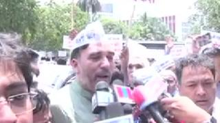 AAP protests outside EC over 'EVM tampering'