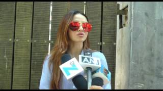 Actress Sana Khan Dubbing Her Upcoming Movie Toilet Ek Prem Katha