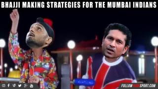 Harbhajan Singh making strategies for the Mumbai Indians.