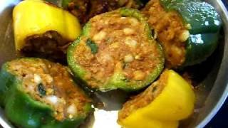 Stuffed Peppers - Stuffed Capsicum | Bharwa Shimla mirch | Masala Shimla mirch