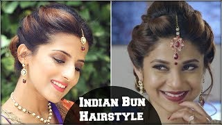 Beyhadh- Jennifer Winget's Easy Bun Hairstyle for Indian Wedding Occasion & Parties For Medium Hair