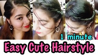 1 Min Cute & Easy Twist Hairstyle for College or Party | JSuper Kaur