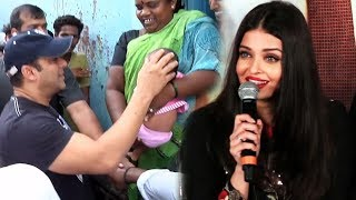 Salman PLAYING With Poor Slum Kid, Aishwarya TROLLS Reporter For Silly Question