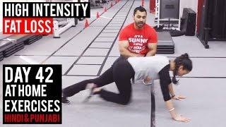   Day 42   HIT FAT LOSS Workout AT Home! (Hindi / Punjabi)