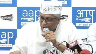 Aap leaders brief media on Central Govt mega scam