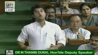 Jyotiraditya Scindia's Speech on The Agrarian Situation in The Country
