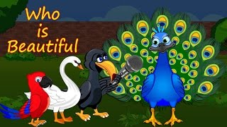 Who is beautiful English   Moral Story   Crow and Parrot Story   By StoryAtoZ.com