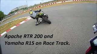 Apache RTR 200 and Yamaha R15 on Race Track. Motovation Track Days.