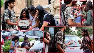 Funny LIZARD (छिपकली) Prank on GIRLS - Awesome Reactions | Pranks in India