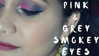 Pink & Grey Smokey Eyes Festive/Wedding/Holiday Makeup | Nidhi Katiyar