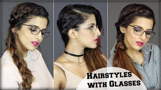 1 MIN EASY Everyday Hairstyles For People With Glasses For School, College, Work/Quick Hair Tutorial