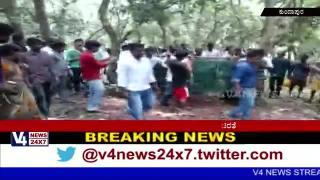 Cheetha fallen on the roll in kundapura