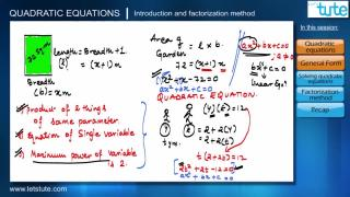 Quadratic Equations- Introduction & Factorization Method | Letstute