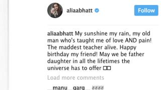 Alia's birthday wish to her Father Mahesh Bhatt