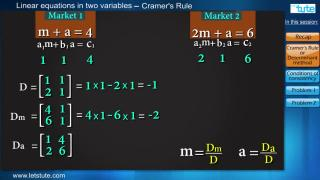 Linear Equation In Two Variable- Cramer's Rule | Letstute