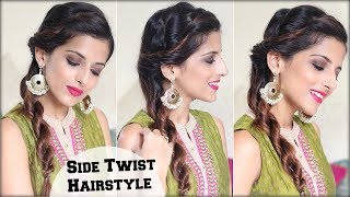 1 MIN Everyday Quick Twist Hairstyle For Dussehra | Durga Puja / Indian Hairstyle For Medium Hair