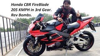Honda CBR FireBlade 205KMPH 3rd Gear. Rev Bombs.