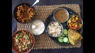 Easy Veg Indian Thali Recipe - Karva Chauth Special | Karva Chauth Thali Ideas