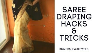 Saree Draping Hacks & Tricks | Effortless Saree Draping in Hindi | #kARWACHAUTHWEEK | Nidhi Katiyar