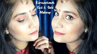 KARWA CHAUTH MAKE UP TUTORIAL 2017 in HINDI | Red & Gold Makeup | Nidhi Katiyar