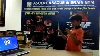 Ascent Abacus & Brain Gym Student-Pratik Dash performing double digit,150 length,1 second duration