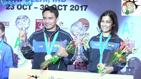 Complete Winning Ceremony Heena Sidhu and Jitu Rai 10M Air Pistol Mixed team - First Gold Medal