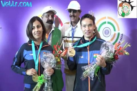 Winning Moments - Jitu Rai and Heena Sidhu with Abhinav Bindra - ISSF WCF