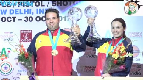 Complete Winning Ceremony - Gold Medalist Team of Spain - Antonio BAILON, Beatriz MARTINEZ - Trap Mixed Team #ISSF #WCF