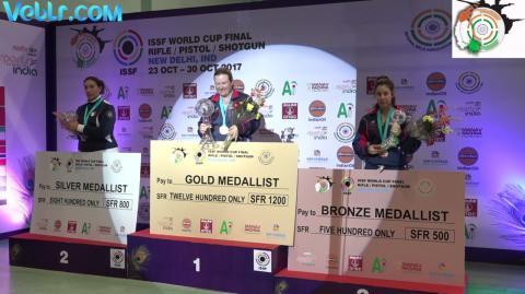 Winning Ceremony - USA RHODE Kimberly Bag Gold Medal in Skeet Women Final #ISSFWCF