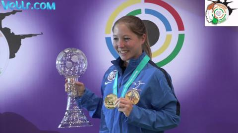 Winning Ceremony - France's GOBERVILLE Celine Bags Gold Medal in 10m Air Pistol Women Final #ISSFWCF