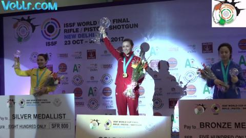 Victory Ceremony of 10m Air Rifle Women ISSF WCF 2017