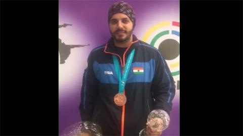 Amanpreet singh (INDIA) - First Interview After Winning Bronze Medal in 50m Pistol Men Final #ISSFWCF 2017