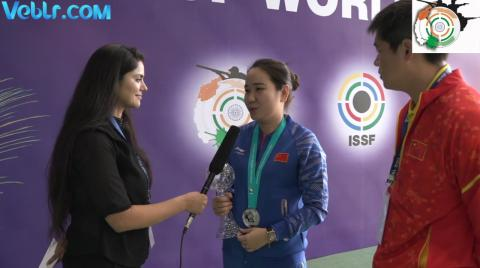 Interview with Jingjing Zhang (CHINA) - Silver Medal Winner in 25m Pistol Women Final #ISSFWCF 2017