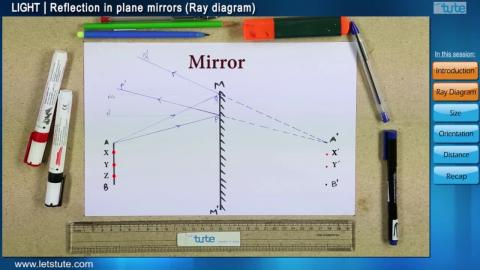 Reflection in plane mirrors - Ray Diagram | Letstute