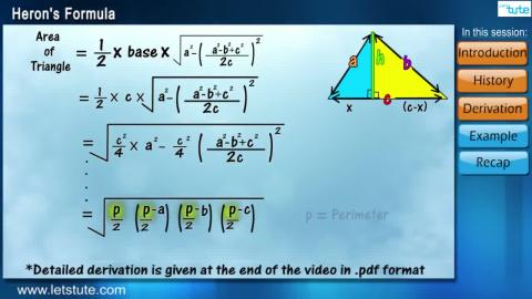 Heron's Formula | Letstute