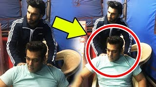 Ranveer Singh Giving Body Massage To Salman Khan On Race 3 Sets