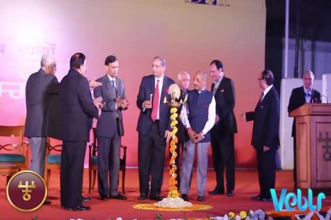 Lighting the ceremonial lamp at IITF 2017 on Haasya Kavi Sammalen (हास्य कवि सम्मलेन)