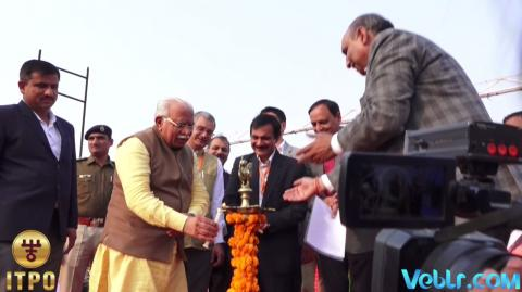 Lighting the ceremonial lamp at iitf 2017 on Haryana State Day
