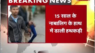 बुलंदशहर पुलिस का नया कारनामा, 15 साल के नाबालिग के हाथ में डाली हथकड़ी
