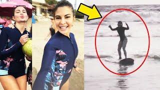 Jacqueline Fernandez Goes Surfing In Sri Lanka - New Year Holidays