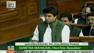 Jyotiraditya Scindia speech in Lok Sabha on Matters of Urgent Public Importance