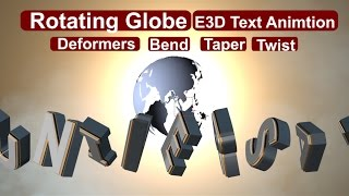 Rotating Globe & Text Deformers (Bend, Taper, Twist, Zoom) in After Effect Tutorials